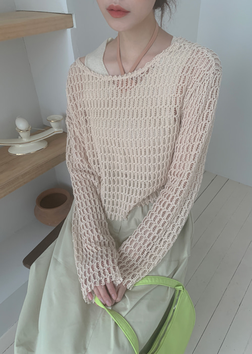 NET LOOSE KNIT(BEIGE, MINT, BLACK 3COLORS!)