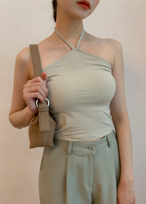 HALTER NECK SLEEVELESS T(IVORY, BEIGE, ORANGE, SKYBLUE, BLACK 5COLORS!)