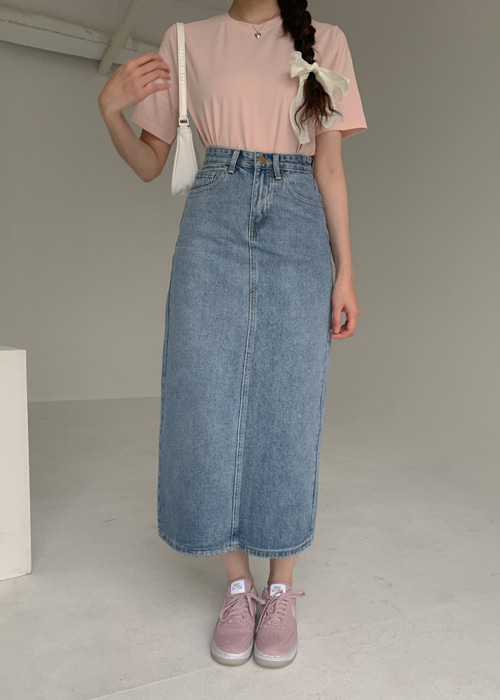 90'S DENIM LONG SKIRT(BLUE WASH, BLACK WASH 2COLORS!)