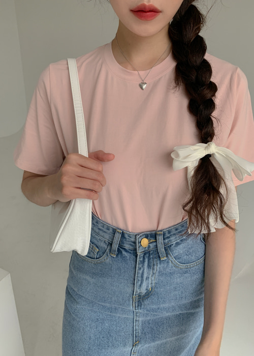 BASIC COTTON T(WHITE, YELLOW, PINK, MINT, BLACK 5COLORS!)