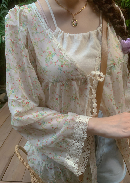 FLORAL LACE ROBE CARDIGAN