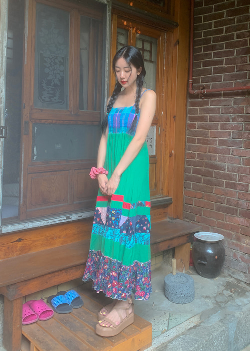 VINTAGE ETHNIC SMOCKED SLIP DRESS