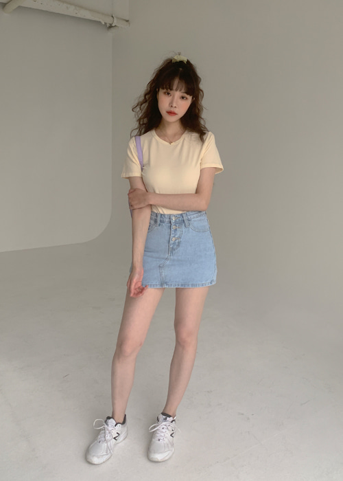 90'S BUTTON DENIM SHORT SKIRT(LIGHT WASH, DARK WASH 2COLORS!)
