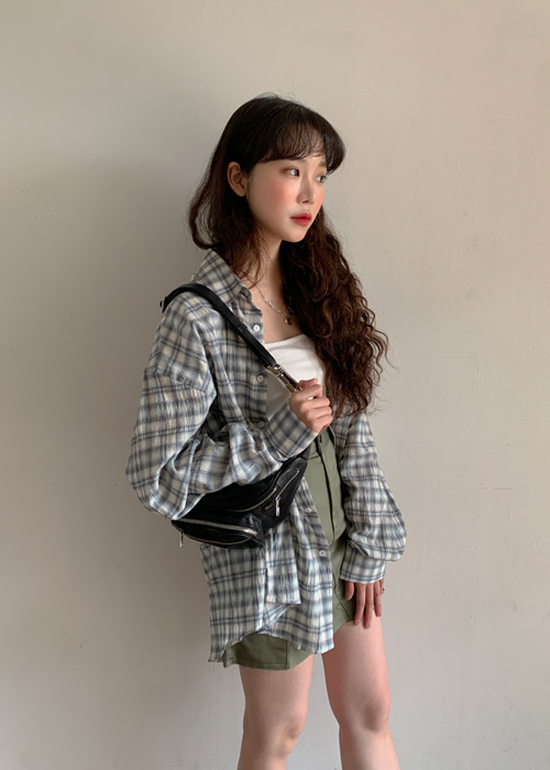 BOYFRIEND BOXY CHECK SHIRTS(SKYBLUE, BLACK 2COLORS!)