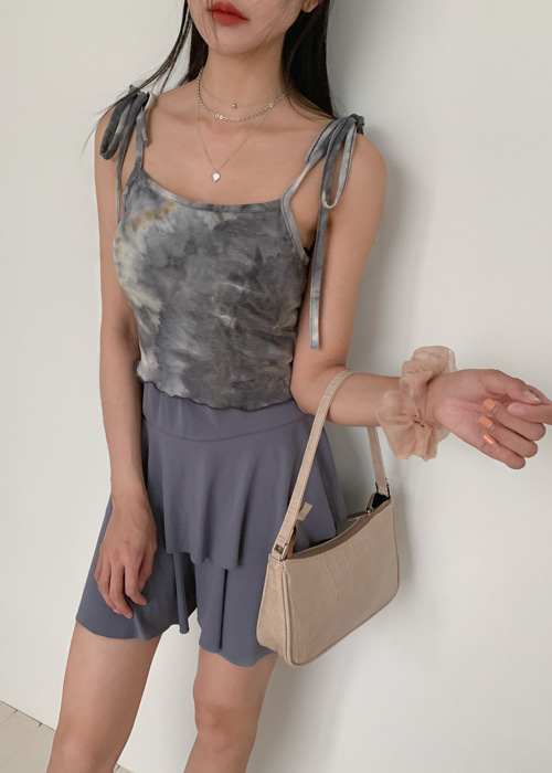 PAINT RIBBON FRILL SLEEVELESS TOP(BEIGE, GREEN, PURPLE 3COLORS!)