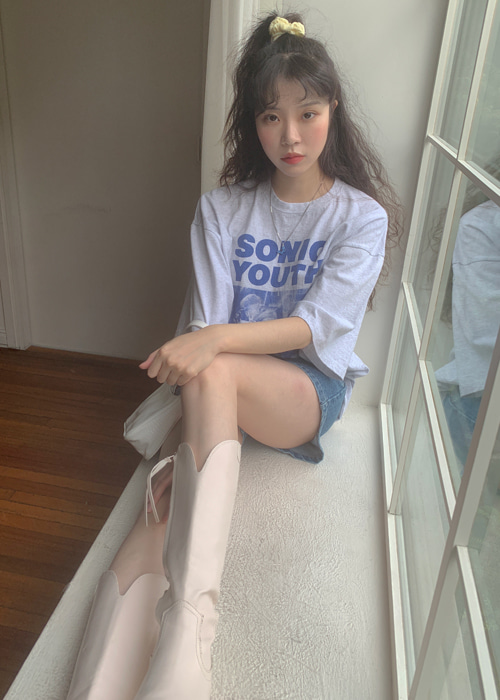 SONIC YOUTH OVERSIZE T(LIGHT GREY, PINK 2COLORS!)