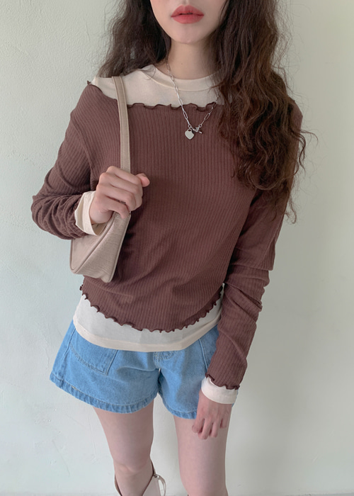 SHIRRING FRILL LONG SLEEVE T(IVORY, PINK, MINT, BROWN, BLACK 5COLORS!)