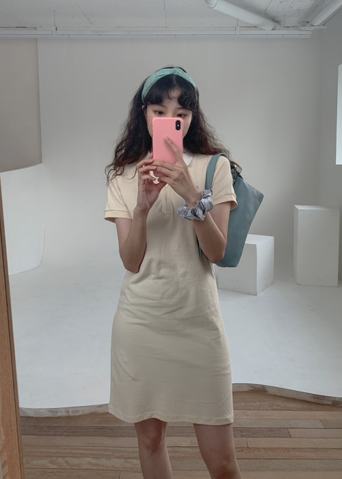 90'S PK SHIRTS DRESS(CREAM, PINK, SKYBLUE, BLACK 4COLORS!)