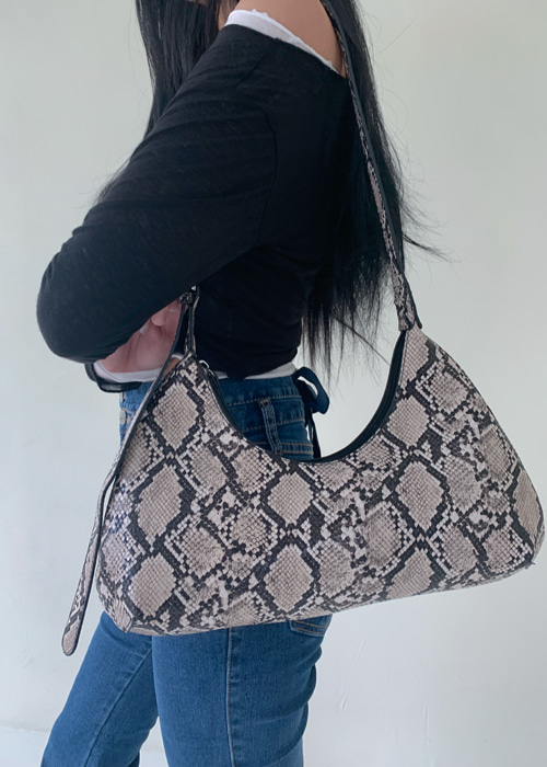 LEATHER SHOULDER TOTE BAG(BROWN, BLACK, PYTHON 3COLORS!)