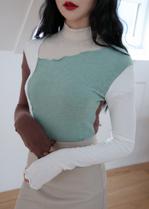 JERRY CUTTING FRILL LONG SLEEVE T(PINK, MINT, OLIVE 3COLORS!)
