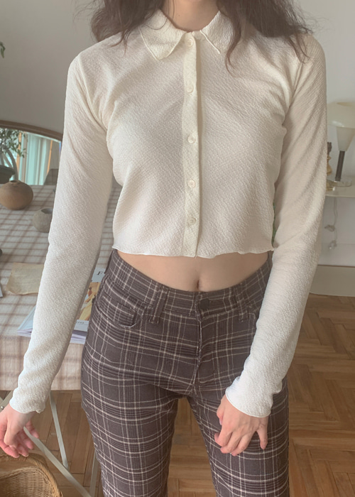 SLIM CROP LONG SLEEVE SHIRTS(IVORY, BROWN, BLACK 3COLORS!)