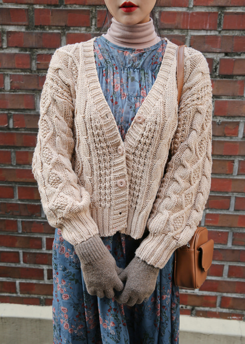 CABLE LOOSE KNIT CARDIGAN(CREAM, BEIGE, BROWN, GREY 4COLORS!)