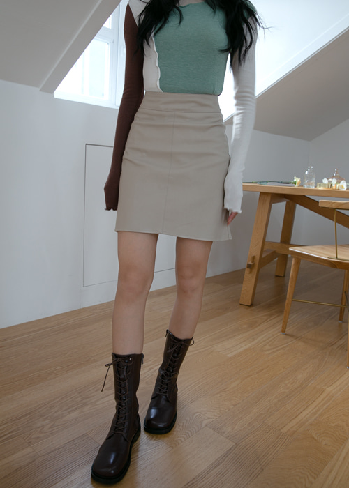 MARBLE LEATHER SKIRT(BEIGE, BLACK 2COLORS!)