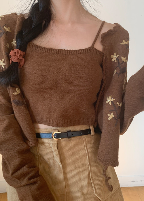 MAPLE FLOWER KNIT TOP CARDIGAN SET(IVORY, BROWN 2COLORS!)