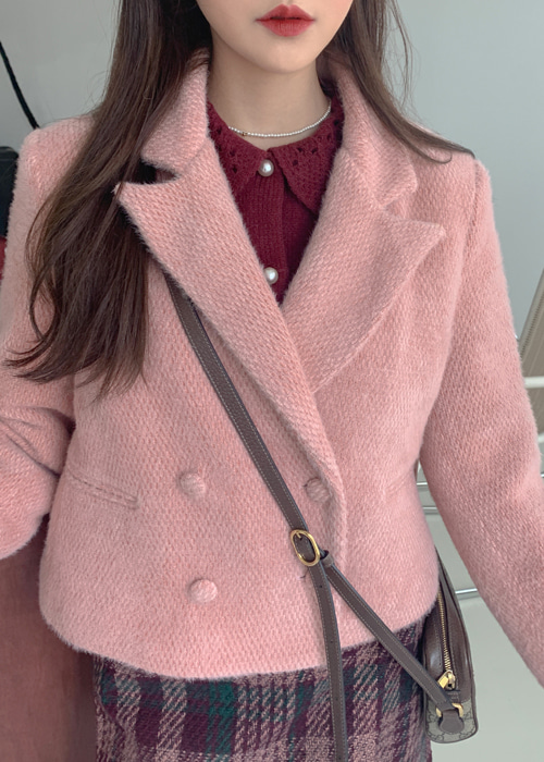 TWEED DOUBLE JACKET(IVORY, PINK 2COLORS!)