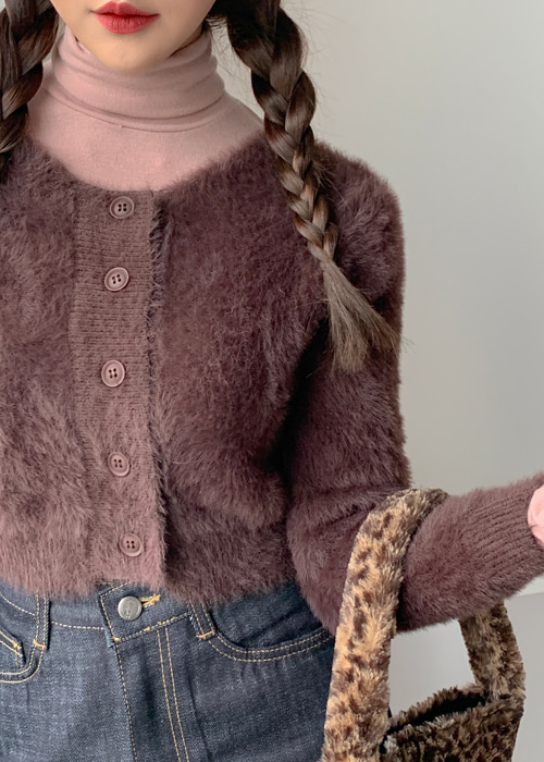 MINK FUR CROP CARDIGAN(IVORY, BROWN, BLACK 3COLORS!)