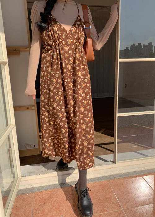 NAOMI FLOWER LONG DRESS(BROWN, BLACK 2COLORS!)