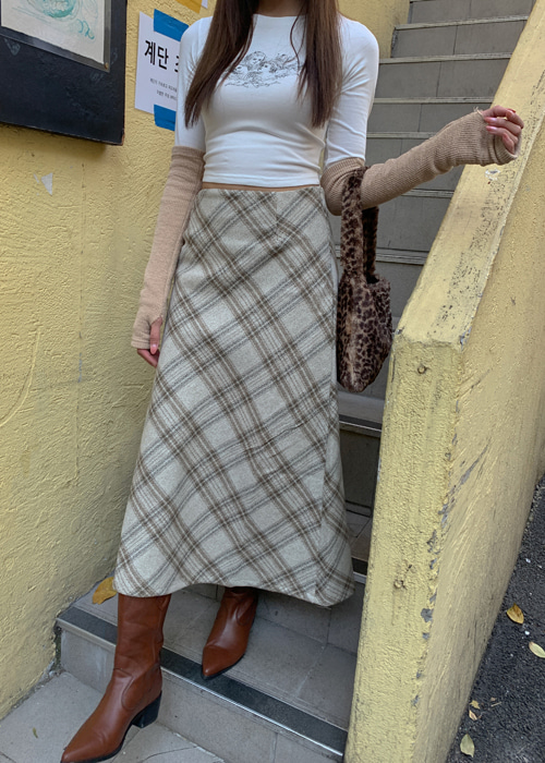WOOL CHECK BANDING SKIRT(BEIGE, GREY 2COLORS!)