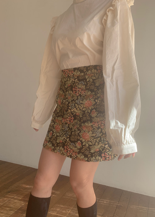 JACQUARD FLORAL SKIRT(NAVY, BLACK 2COLORS!)