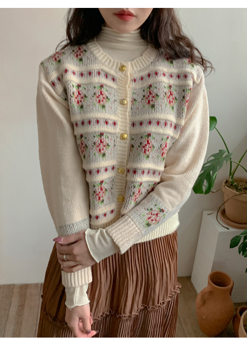 VINTAGE GOLD BUTTON FLORAL CARDIGAN(BEIGE)