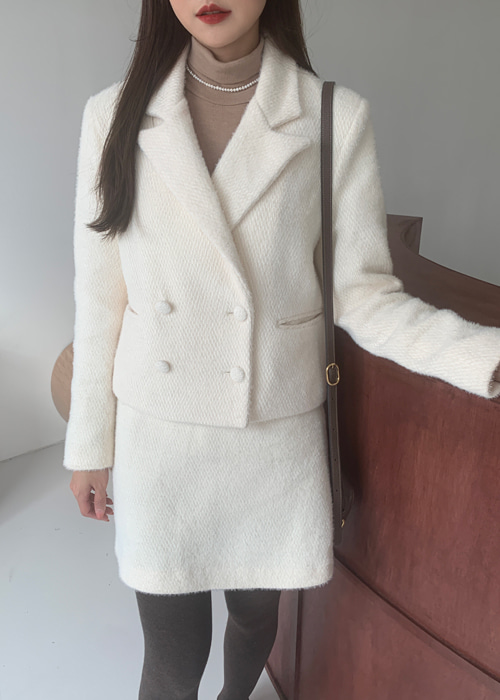 TWEED DOUBLE BUTTON JACKET SKIRT SET(IVORY, PINK 2COLORS!)