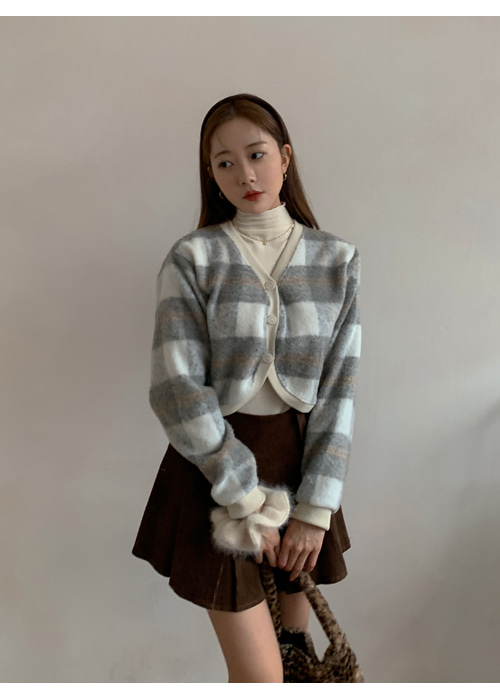 WOOL CHECK CROP CARDIGAN(SKYBLUE, GREY 2COLORS!)