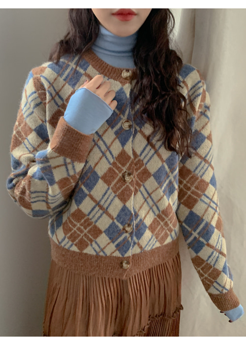 ARGYLE WARM KNIT CARDIGAN(BEIGE, GREY 2COLORS!)