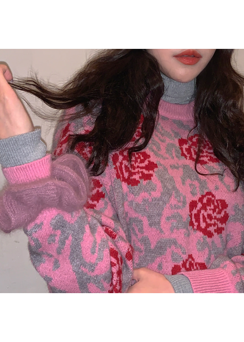 LILY ROSE KNIT(PINK, BLACK 2COLORS!)