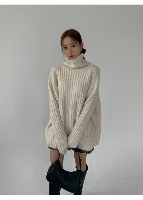 ANGORA TURTLE NECK LOOSE LONG KNIT(IVORY, GREY 2COLORS!)