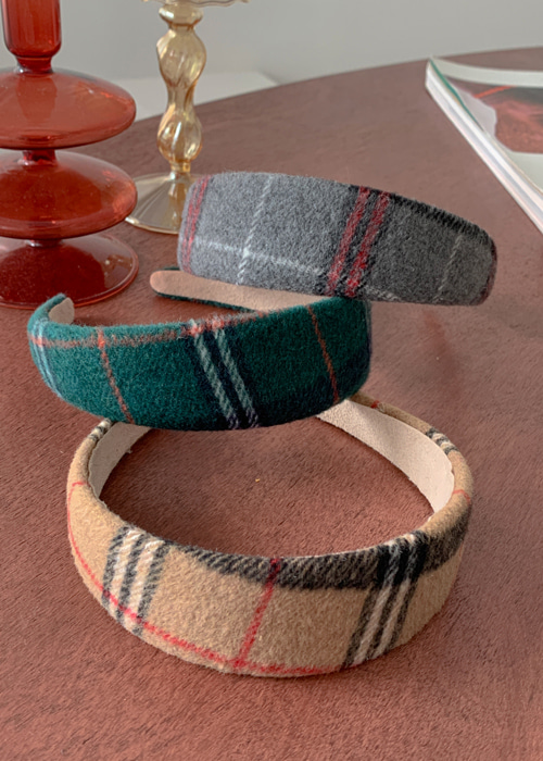 WOOL CHECK HAIRBAND(BEIGE, GREEN, GREY 3COLORS!)