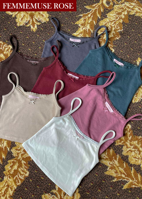 ❀FEMMEMUSE ROSE❀ KATE RIBBON LACE SLEEVELESS CROP T(7 COLORS!)