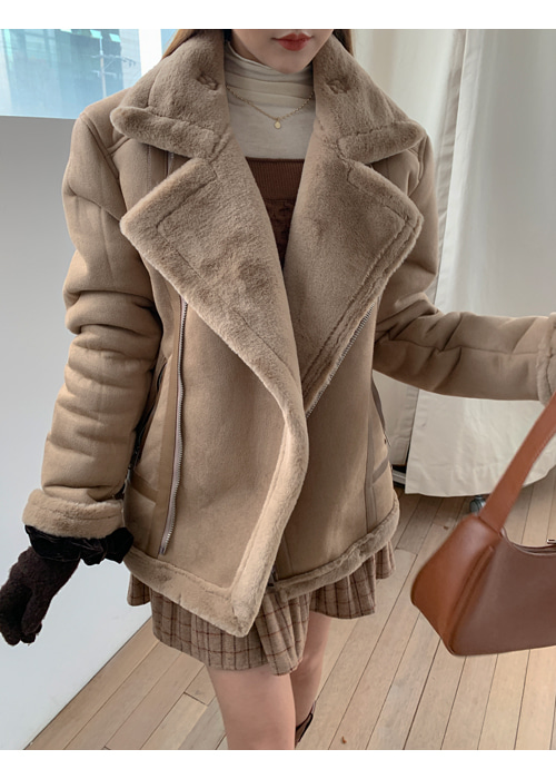 FUR MOUTON JACKET(IVORY, BEIGE, BLACK 3COLORS!)