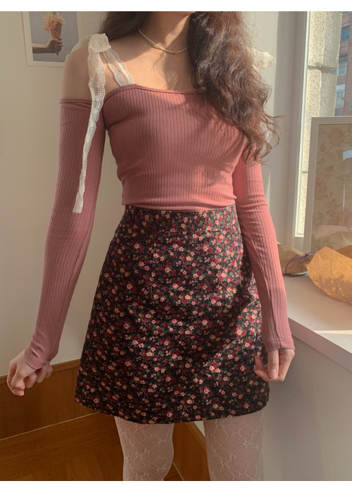 FLORAL CORDUROY MINI SKIRT(BRICK, BLACK 2COLORS!)