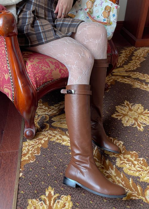 BUCKLE MIDDLE BOOTS(BROWN, BLACK 2COLORS!)