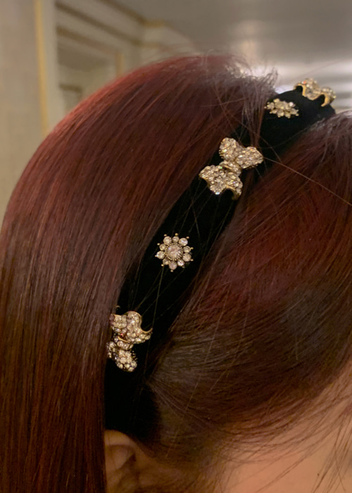 STONE RIBBON HAIR BAND