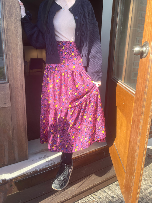 MAISON FLOWER LONG SKIRT(PINK, BROWN 2COLORS!)