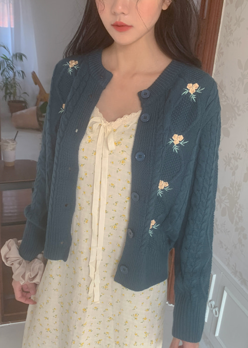 FLORAL WARM KNIT CARDIGAN(LIGHT GREEN, BLUISH GREEN 2COLORS!)