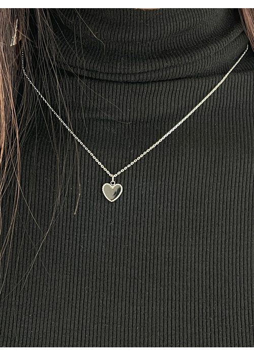 HEART SILVER NECKLACE(BLACK)