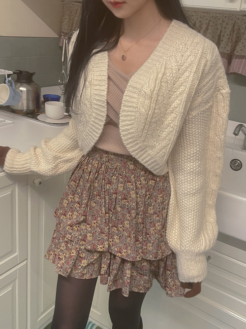 CLARE BOLERO KNIT CARDIGAN(IVORY, PINK, SKYBLUE, BLACK 4COLORS!)