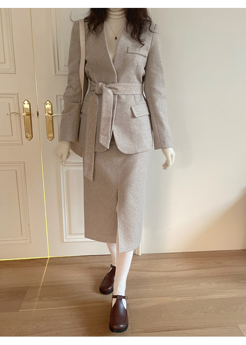 NO COLLAR BELT JACKET MIDI SKIRT SET(BEIGE, GREY 2COLORS!)