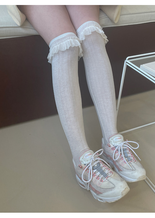FRILL KNEE SOCKS(IVORY, PINK, SKYBLUE, BROWN, BLACK 5COLORS!)