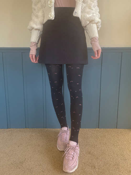 VINTAGE FLORET TIGHTS(GREY, NAVY, BLACK 3COLORS!)