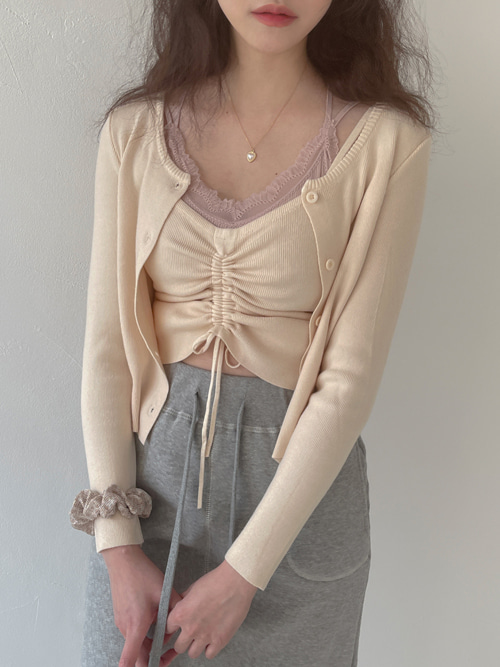 KNIT SHIRRING TOP CARDIGAN SET(CREAM, GREY 2COLORS!)