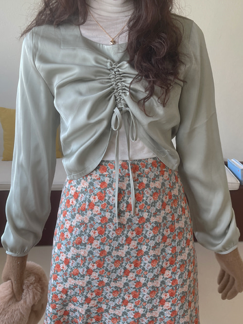 SILKY SHIRRING STRING BLOUSE(IVORY, MINT, PINK, BLACK 4COLORS!)