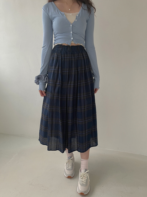 BECKY TARTAN CHECK BANDING SKIRT(IVORY, BLUE 2COLORS!)