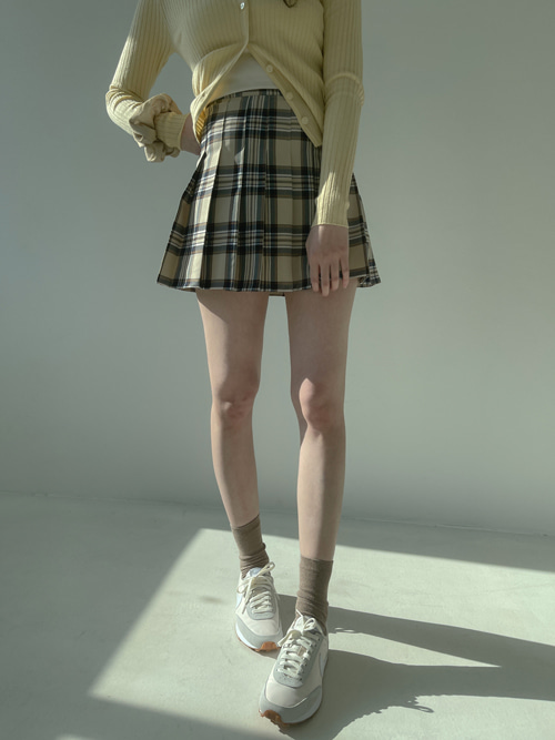 NARI CHECK TENNIS SKIRT(BEIGE, YELLOW 2COLORS!)