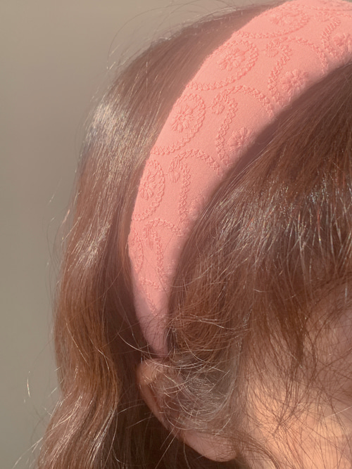VINTAGE EMBROIDERY HAIR BAND(WHITE, YELLOW, PINK, RED, BLUE 5COLORS!)