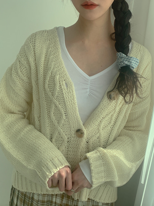 FRIN TWIST LOOSE KNIT CARDIGAN(CREAM, YELLOW, PINK, BROWN 4COLORS!)
