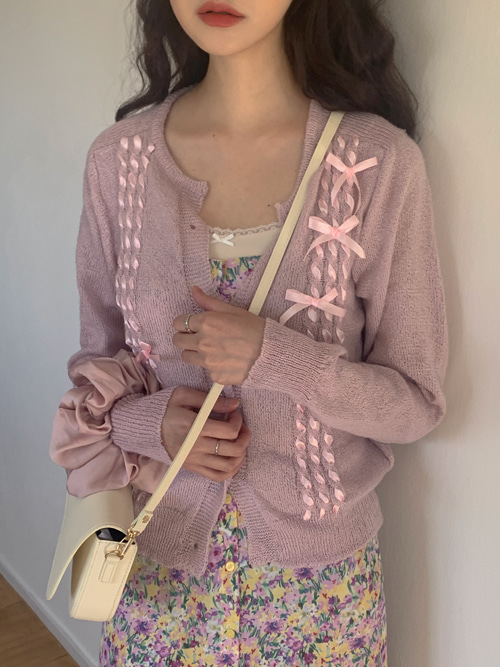 RIBBON PEARL KNIT CARDIGAN(IVORY, BEIGE, PINK 3COLORS!)