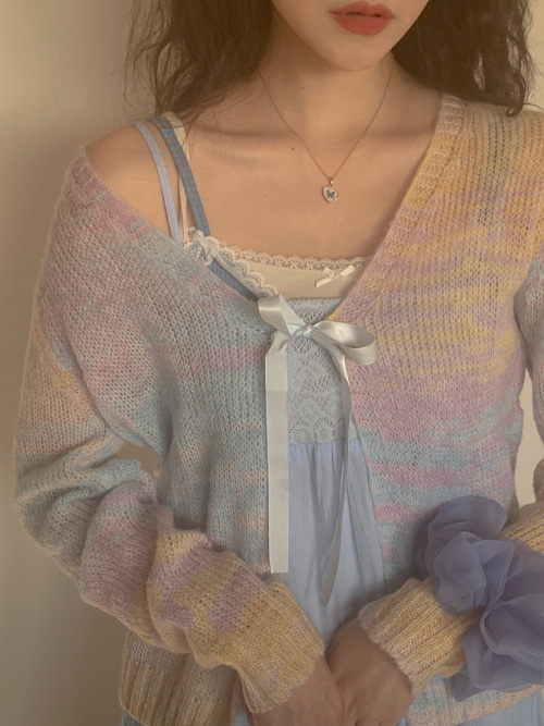RAINBOW KNIT RIBBON CARDIGAN
